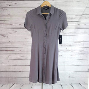 NWT Lulus gray Daily Delight button skater dress